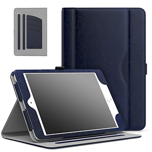 MoKo Hülle für iPad Mini 3/2 / 1 - Kunstleder Ständer Tasche Schutzhülle Smart Case Cover mit Dokumenteschlize Karte Slot & Standfunktion für Apple iPad Mini 3 / Mini 2 / Mini 1. Gen, Marineblau