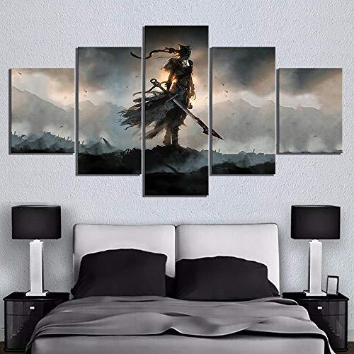 wjdymx Decoración De Pared 5 Unidades HD Fantasy Art Celtic Warrior Hellblade Senua'S Sacrifice Videojuego Poster Pinturas sobre Lienzo Decoración De Arte De Pared
