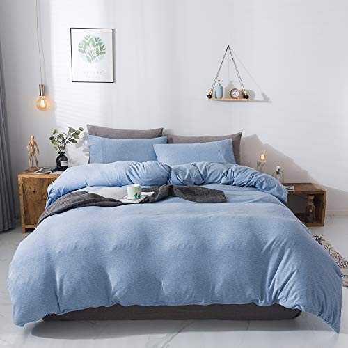 Household 100% Cotton Jersey Knit Duvet Cover Comfortable, Super Soft Includes 2 Pillowcase