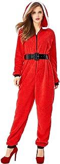 Mono de Santa Claus Mujeres Pijamas navideños Mamelucos con Capucha Traje de Navidad Mono para Adultos Damas - Talla s