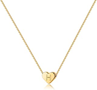 Heart Initial Necklaces for Women Girls - 14K Gold Filled Heart Pendant Letter Alphabet Necklace Tiny Initial Necklaces for Women Kids Child Heart Letter Initial Necklace Birthday Gifts for Girls