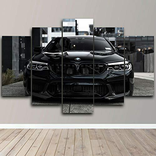 Arts - 5 piezas de impresión en lienzo para pared, diseño de coche deportivo, color negro, 100 x 55 cm