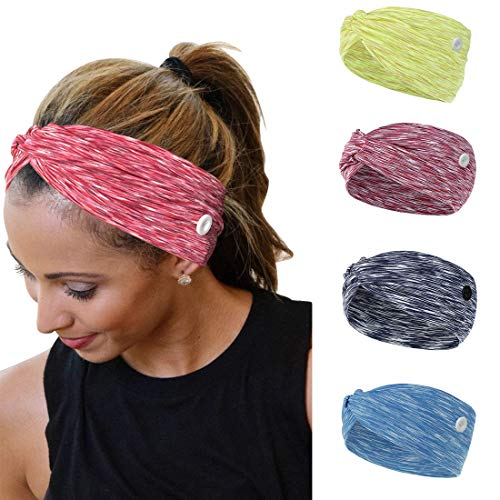 YONUF Headbands For Women Girls With Buttons Elastic Yoga Hair Bands Accessories non slip 4 Pcs