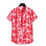 Playa Shirt Hombre Verano Casuales Vacaciones Hombre Casuales Camisa Botón Placket Hombre T-Shirt Estilo Hawaiano Surf Camping Hombre Manga Corta YC08 XL