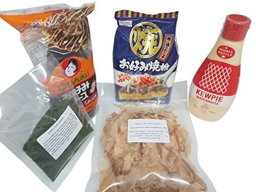 TOP > Okonomiyaki Zutaten im Set: Okonomiyaki Mehl (Ko), Okonomi Sauce, Japanische Mayonnaise, Katsuobushi, Aonori Grundzutaten Osaka