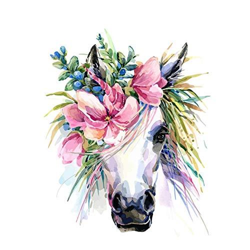 GKJRKGVF Bloem paard DIY schilderen op nummer-kit dieren acrylverf volgens cijfers voor volwassenen uniek cadeau Home Decoratie Art