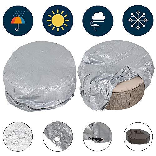 Kingsleeve Funda para Muebles de jardín 230x180x90/50cm Color Gris Plata Cubierta Protectora para Tumbona Polietileno Isla sofá Cama
