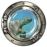 """Wandkings Wandsticker Bullauge """"Unterwasserwelt - Baby Schildkröte unter Wasser' - 30 x 30 cm SILBER"""