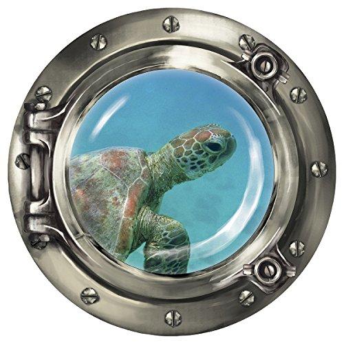 """Wandkings Wandsticker Bullauge """"Unterwasserwelt - Baby Schildkröte unter Wasser"""