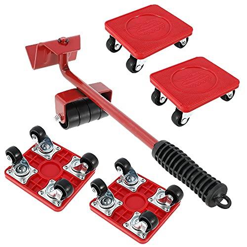 5 tlg. Möbel Gleitsystem Set Transportroller Möbelroller Transporthilfe Möbelgleiter Teppichgleiter mit 4 Erhöhungspads und 1 Lastenheber Je 400 kg Tragkraft Anti Rutsch Beschichtung