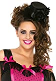 Leg Avenue Satin Top Hat With Flower And Bow Accent, Black, One Size