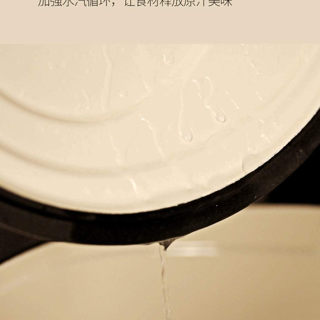 LEILEI Petite cocotte en Fonte émaillée de 16 cm avec Couvercle Revêtement en émail Facile à Nettoyer Dutch Oven/Cocotte(Rouge/Bleu/Vert/Blanc)(Couleur:Rouge) White