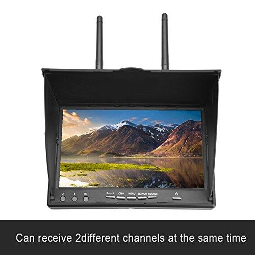 FPV-Monitor,5,8 GHz,40 Kanäle,7 Zoll LCD-Bildschirm/Display Tragbarer Monitor mit zwei Empfängern,automatische Antennenumschaltung Eingebaute Batterie mit drahtlosem Empfänger für FPV Drone Quadcopter