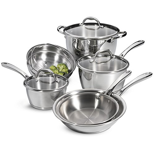 Tramontina 80154/567DS Tri-Ply Base Stainless-Steel Cookware Set, Induction-Ready, 9-Piece