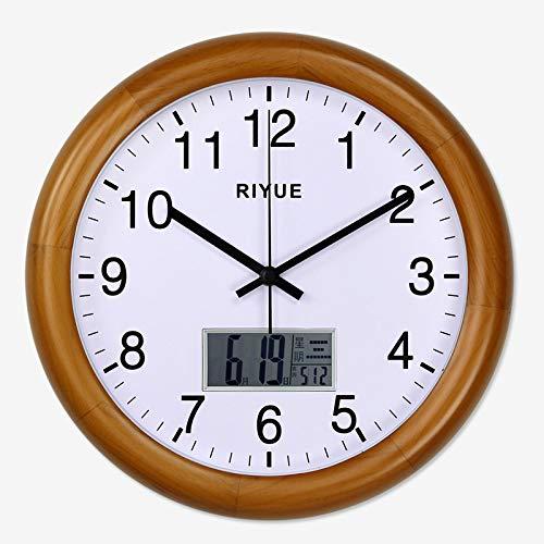 ZBBSHOP Ewiger Kalender Wohnzimmer Wanduhr Woche Mondkalender Uhr kreative chinesische elektronische Uhr Schlafzimmer Wanduhr 30cm