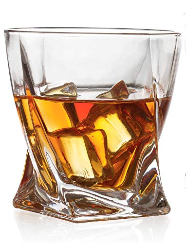 Set of 2 Whiskey Glasses - Twist Luxury Elegant The Wine Savant New Style Old Fashioned Drink Glasses - Glassware set - Scotch Brandy or Bourbon Tumblers, 12 oz.