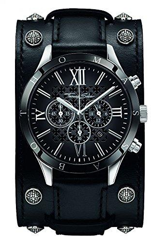 THOMAS SABO Herren Analog Quarz Uhr mit Leder Armband WA0140-218-203-43 mm