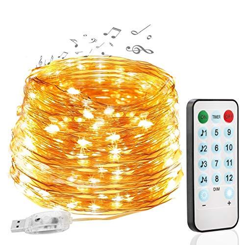 LED Lichterkette, MCSWSEA 10M/33ft 100 LED USB Kupferdraht Lichterkette mit Fernbedienung, IP65 Wasserdichte 12 Modi Außenbeleuchtung Weihnachtslicht für Innen/Außen Dekoration Warmweiße