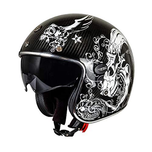 O-Mirechros Fibra Carbono 3/4 Open Street Cara la Vendimia Casco Cafe Racer para Halley Moto Casco Mitad Hades M