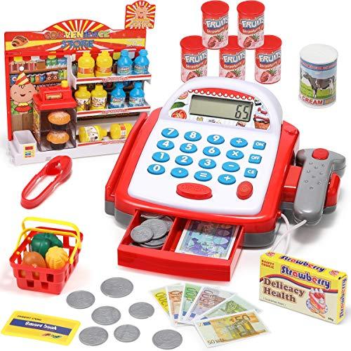 GeyiieTOYS Kinder Kasse Elektronische Supermarktkasse mit Scanner, Kartenlesegerät und Lebensmittel, Rollenspiel Kaufmannsladen für 3 4 5 Jahre Mädchen Junge