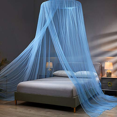 Twinkle Star Bed Canopy, Elegant Dome Bed Netting Canopy Curtains Canopy for Single to King Size Beds, Home &Travel Use (Blue)