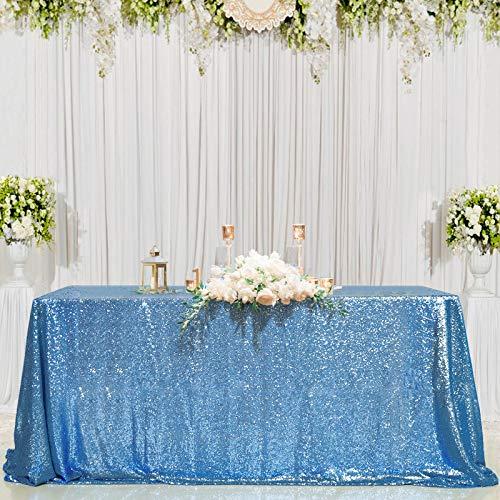 "Toalha de mesa B-COOL 127 cm retangular fúcsia lantejoulas para casamento/festa/banquete, Baby Blue, 50""X50"", 1"