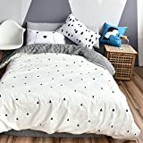 BuLuTu Forest Bear Kids Twin Duvet Cover White Cotton,3 Pieces Reversible Houndstooth Print Promotional Soft...