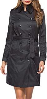 Womens Outwear Lapel Coat Double-Breasted Long Slim Trench Coat with Belt