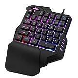 Wood.L Teclado mecánico portátil de una sola mano para juego de mano artefacto mano izquierda teclado de juego para juego LOL/Dota/OW/PUBG/Fortnite control de juego ergonómico
