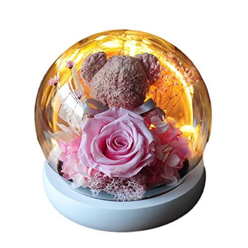 ZHUZEwei Flor Eterna Bella y la Bestia Rose Oso del ángel del Diablo Bola de Cristal Conveniente for el Regalo (Color : Pink)