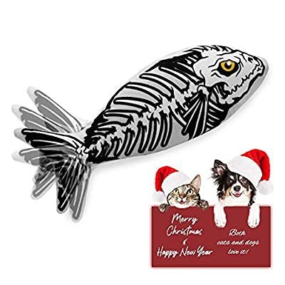 Ospetty Catnip Moving Fish Cat Toy Electric Dancing Fish Christmas New Year Gift Catnip Kicker Interactive Realistic Floppy Fish Toy Lifetime Replacement Guarantee