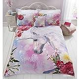 Sparkle And Shine Parure de lit avec Housse de Couette et taie d'oreiller Motif Licorne Multicolore