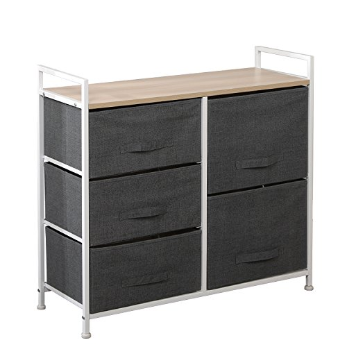 sogesfurniture 5 Drawer Wardrobe Storage Organizer Unit DIY Storage Cabinet Multi-Purpose Storage Chest for Bedroom, Living Room, Office, 83 x 29 x 77cm, Grey 107-GY-BH