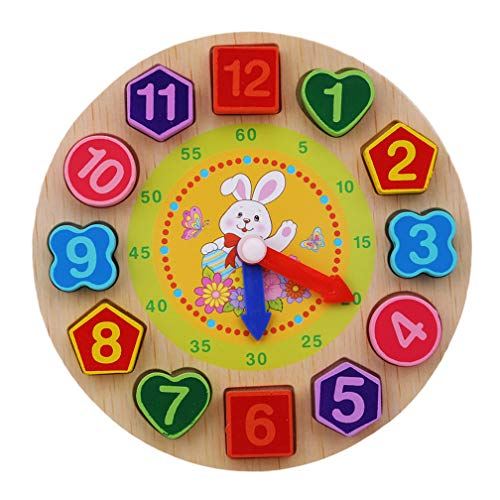 LJSLYJ Lernuhr Holz Montessori Spielzeug Holzuhr mit Zahlen und Formen Frühes Pädagogisches Geschenk für Kinder(Weißer Hase)