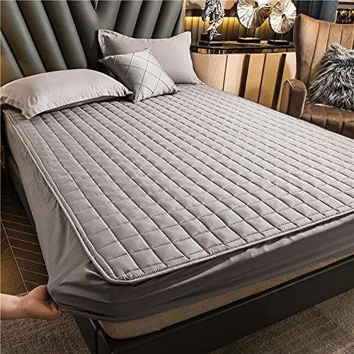 Hoeslaken Zacht Duurzaam,Dikke gewatteerde hoeslakens, antislip beschermingsmat voor slaapkamer appartement Hotel-Grey_4_120cmx200cm