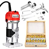 800W Compact Palm Wood Router Kit,Portable Edge Banding Trim Router for Woodworking Handicraft and DIY,Wood Router with 15pcs Router Bits