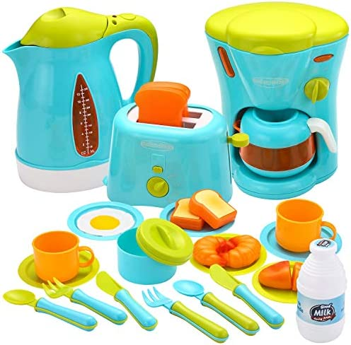 JOYIN Kids Kitchen Pretend Play Toys with Coffee Maker Machine Kettle Toaster Utensils and Cutting product image
