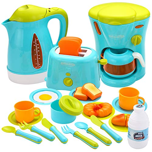 JOYIN Kids Kitchen Pretend Play Toys with Coffee Maker Machine, Kettle, Toaster, Utensils and Cutting Vegetables Cooking Set Play Kitchen Accessories for Toddlers