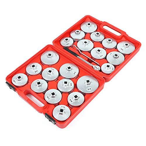 Juego de llaves de filtro de aceite | 23 piezas | adecuado para vehículos div | de aluminio | incluye maletín de plástico rojo
