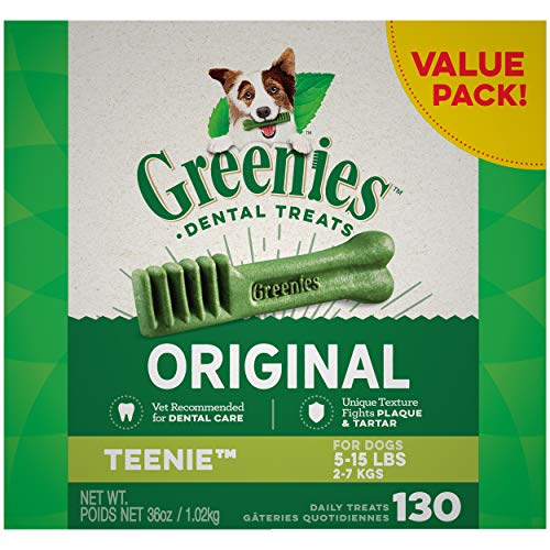 GREENIES Original TEENIE Natural Dog Dental Care Chews Oral Health Dog Treats, 36 oz. Pack (130 Treats)