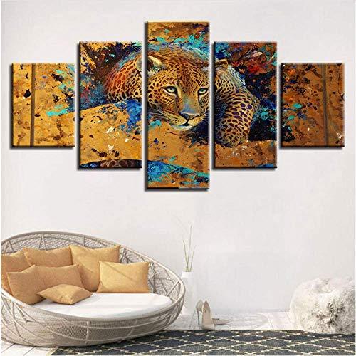 DSNICK-CP Mural de Pared, Arte de Pared, Pintura de Lienzo, 5 Piezas, Animal Leopard Tiger HD, Marco de Fotos, Decoración para el hogar, Sala de Estar, Cartel,A,20x35cmx2+20x45cmx2+20x55cmx1
