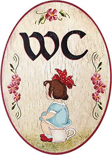 Kaltner Präsente Idea de regalo – Madera artículo de regalo decorativo para puerta en diseño antiguo artículo de decoración con motivo de baño mujer niña (Ø 18 cm)