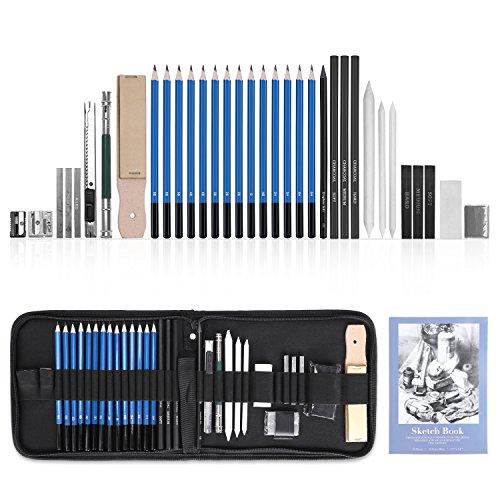 GHB 36pcs Bleistifte Skizzierstifte Set Skizzieren und Zeichnen Professionelle Art Set mit Graphitkohlestifte Sticks Werkzeuge und Kit Bag MEHRWEG