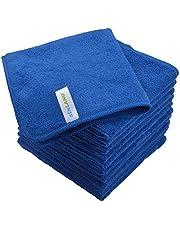 SINLAND マイクロファイバー クリーニングクロス 業務用タオル キッチン 掃除 洗車 吸水 速乾 クロス 12枚入 ブルー