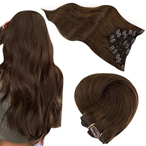 Extension a Clip Cheveux Nautrel Easyouth Couleur Brun Moyen Clip in Hair Extension Humain Cheveux Brésiliens Vrais Cheveux Humian Remy Hair 7 Pcs 22 Pouces 100g