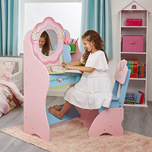 Liberty House Toys Fairy Dressing Table and Chair Schminktisch und Stuhl-Set, Holz, Rose, 120cm H x 68cm W x 39cm D