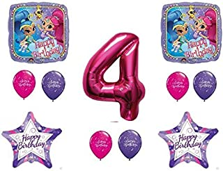 SHIMMER AND SHINE 4th Fourth HAPPY Birthday Party Balloons Decoration Supplies Genie Nick by Qualatex