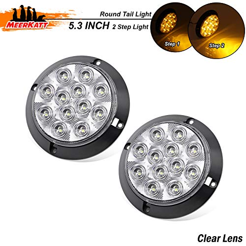 Meerkatt (Pack of 2) 4 Inch Clear Lens Amber LED Round Lamp Turn Signal Tail Light 12 Diodes Super Bright F3 Piranha Camper Tow Truck Bus Trailer Jeep Kenworth Cab Car 12V DC Waterproof GK12