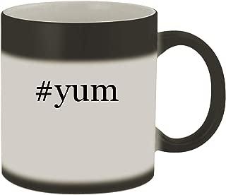 #yum - Ceramic Hashtag Matte Black Color Changing Mug, Matte Black