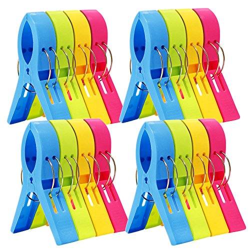 ESFUN 16 Pack Beach Towel Clips Chair Clips Towel Holder for Pool Chairs on Cruise-Jumbo SizePlastic Clothes Pegs Hanging Clip Clamps to Keep Your Towel from Blowing AwayFashion Bright Color